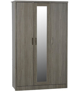 Lisbon 3 Door mirrored robe in black grain oak