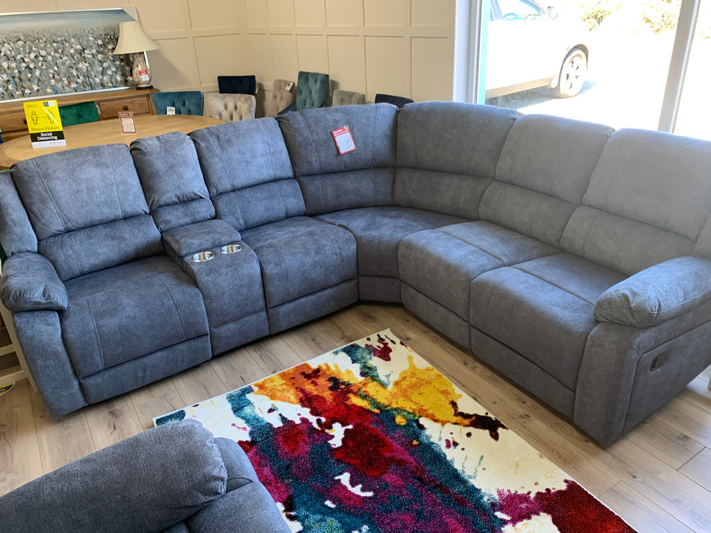Lilly recliner corner group in blue/grey