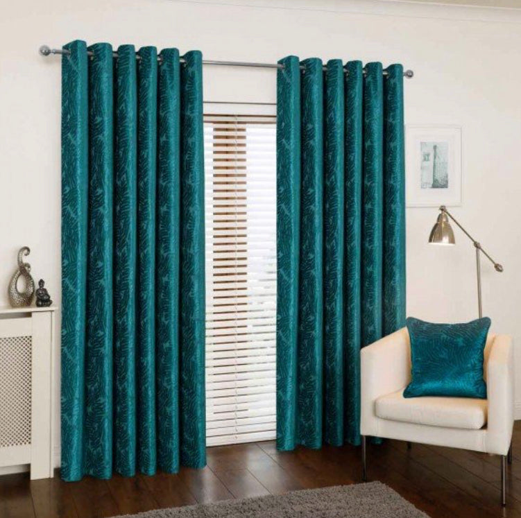 Azolla Teal eyelet curtains