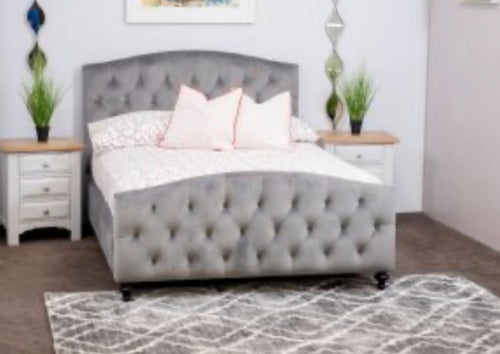 Louisa fabric bed in grey