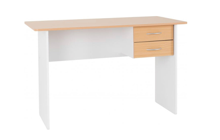 Jenny 2 drawer desk in beech white