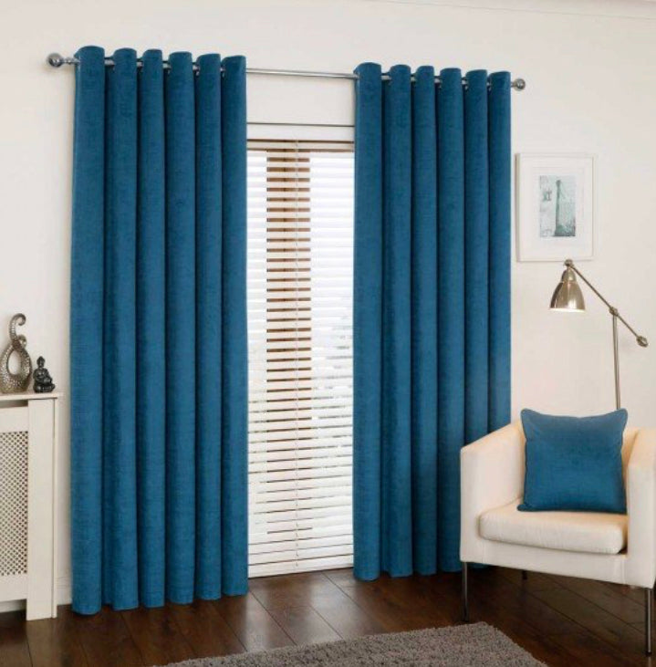 Mercury Teal eyelet curtains