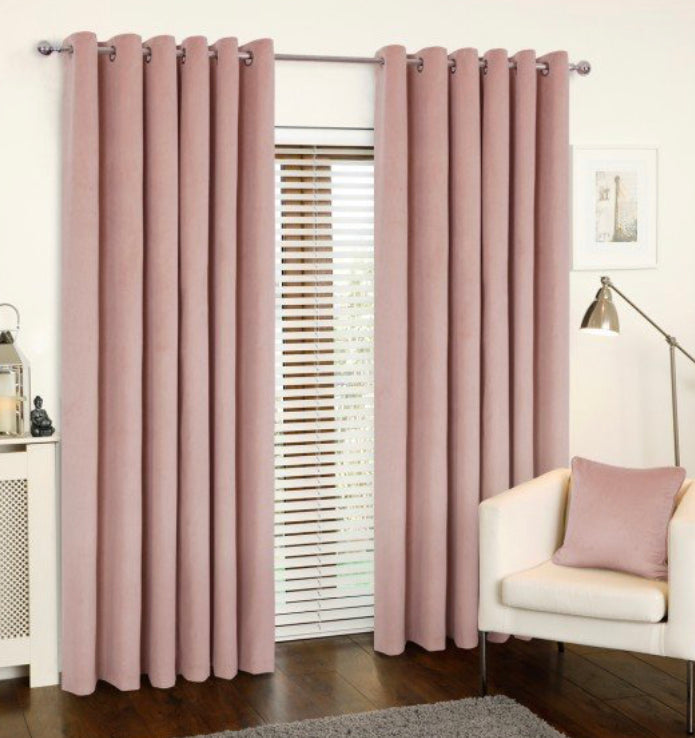 Rib velour blush eyelet curtains