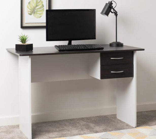 Jenny 2 drawer desk in wenge white