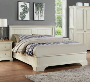 Claire cream and oak bedframe