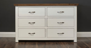 Manhattan cream and oak 6 drawer wide chest