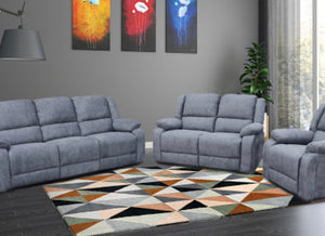 Lilly recliner suite in blue/grey