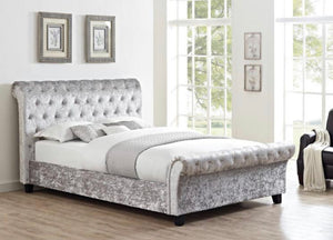 Chester bedframe in crush velvet silver
