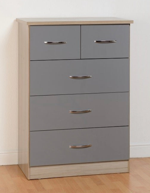 Nevada 3 + 2 chest in grey and oak
