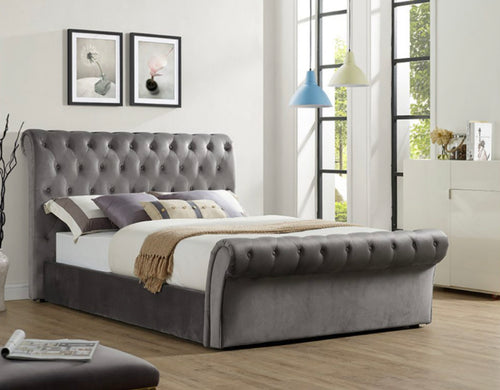 Chester bedframe in plush grey