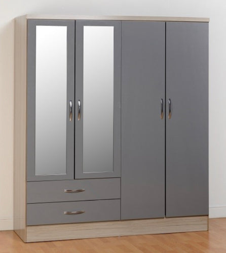 Nevada 4 door robe in grey and oak