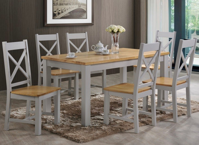 Rochester grey and oak dining set