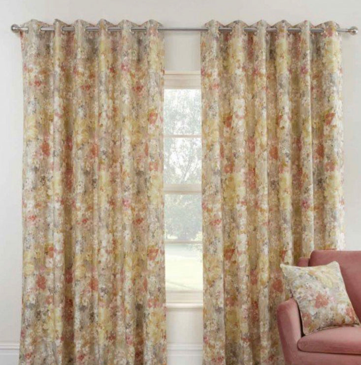 Giverny sienna eyelet curtains