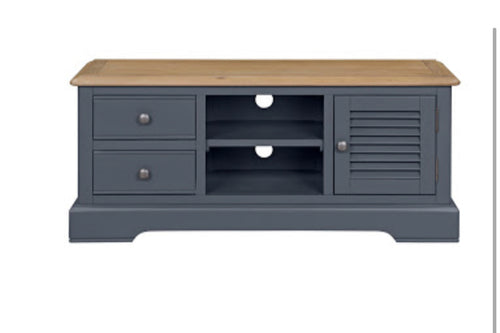 Charlotte navy and oak tv unit