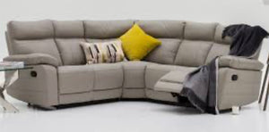 Positano grey leather recliner corner group