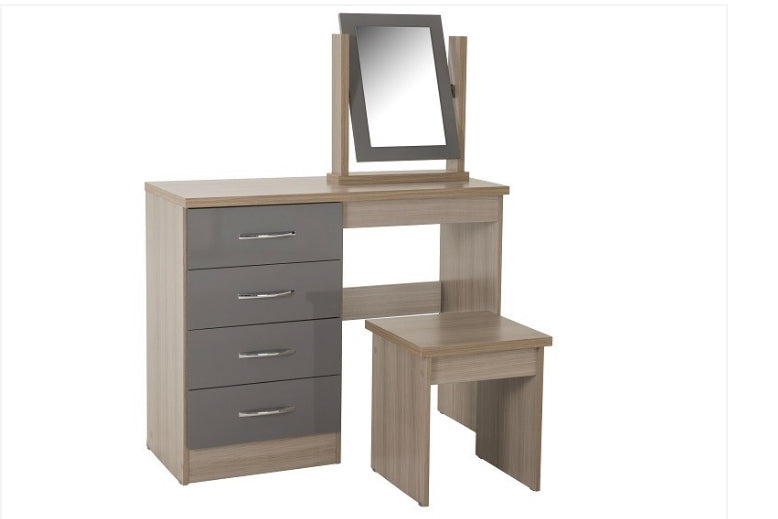 Nevada dressing table set in grey and oak