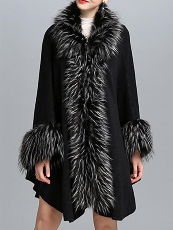 Cape Sleeve Faux Fur Collar Asymmetric Elegant Coat