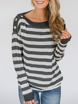 Casual Round Neck Striped T-shirt