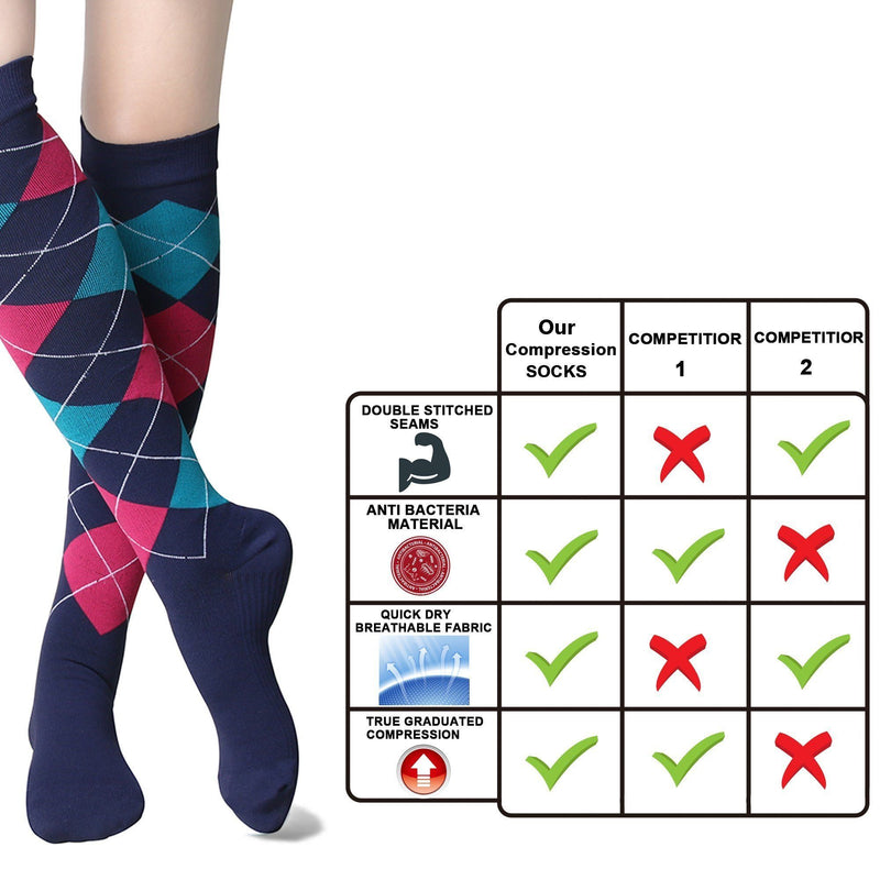 Fashion Compression Socks 20-30 mmHg Graduated Knee High Support Stockings