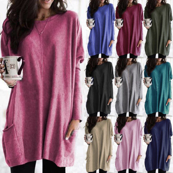 Women Loose Plus Size Shirts Pure Color Long Sleeve Casual Pocket T-shirt Autumn Cotton Shirts Blouse