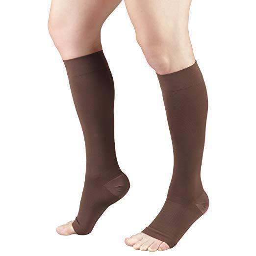 Open Toe Compression Socks 20-30 mmHg Knee High Toeless Stockings