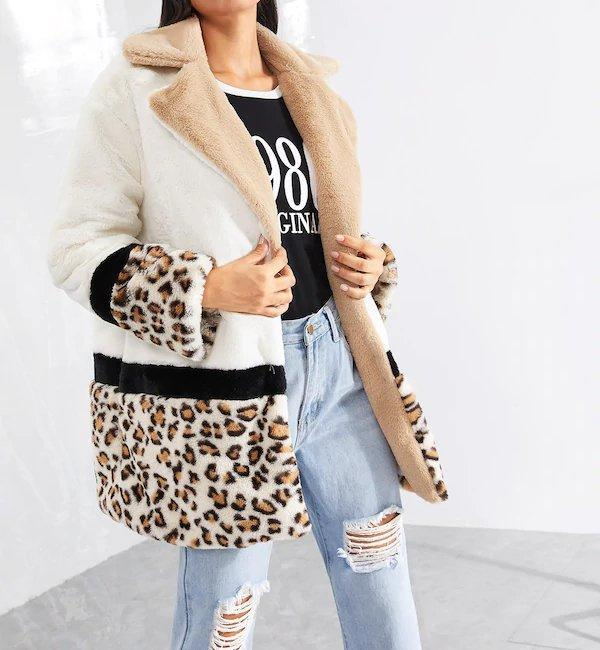 Plus Size Leopard Panel Faux Fur Fluffy Coat