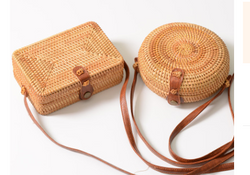Hand Woven Rattan Leather Buckle Bag