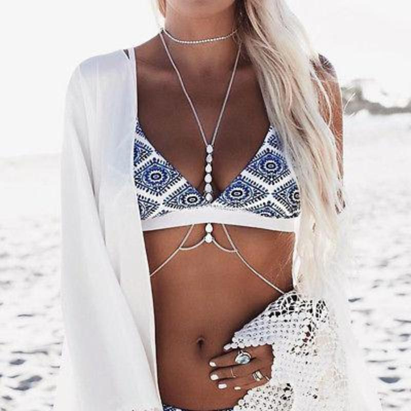White Floral Halter Bikini Set - Brazilian Push Up Swimsuit