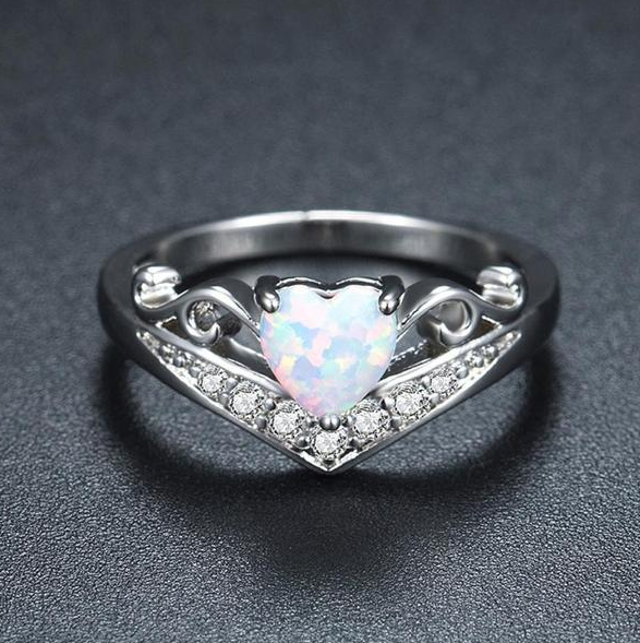 Heart Fire Opal Ring