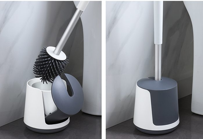 Semi-automatic Toilet Bowl Cleaner Brush Holder Set