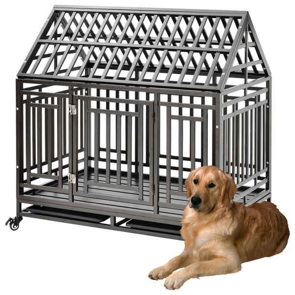 Heavy Duty Dog pet Crate Cage with Roof (roof can not open)