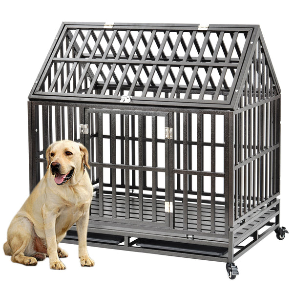 "Extra Large Dog Crate Heavy Duty Dog Crate Dog Kennel With Roof, 43.3""L X 29.4""W X 46.1""H XL XXL Strong Metal Cage for Training Dog & Pet, Easy to Assemble with Patent Lock & 4 Lockable Wheel, Removable Tray for Indoor Outdoor"