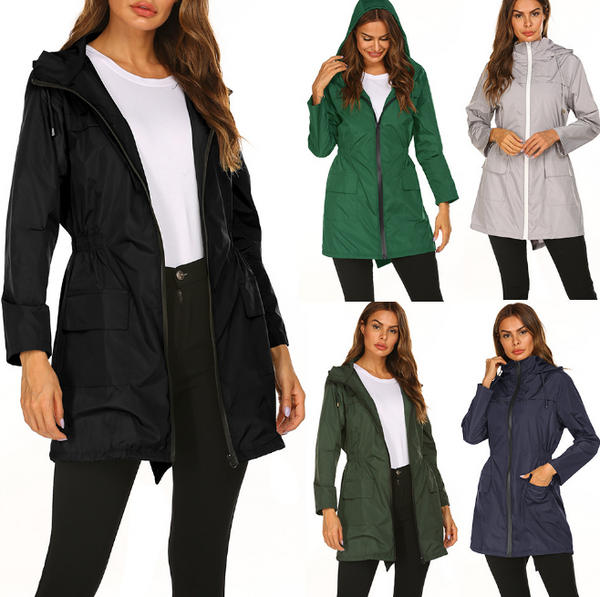 Raincoats Windproof Rain Jacket Outerwear, Lightweight Zip Hooded Waterproof Casual Mid-length Coat Female