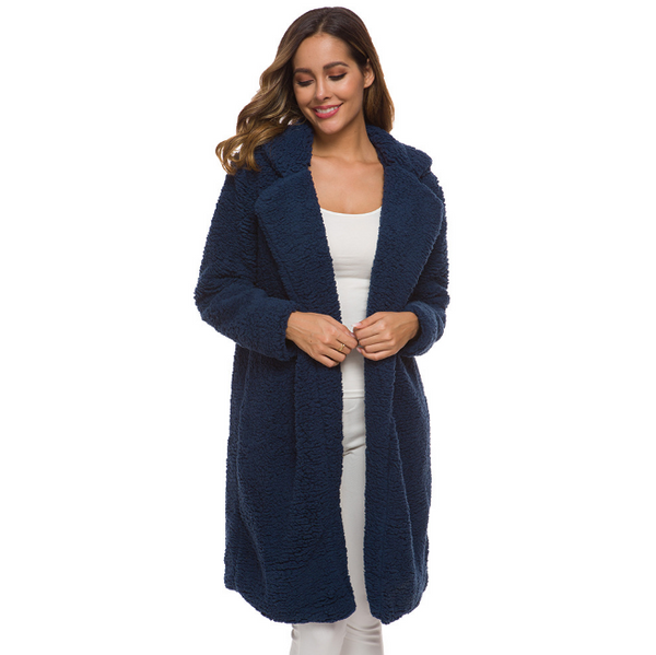 Women Plus Size Turn-Down Collar Long Teddy Coat