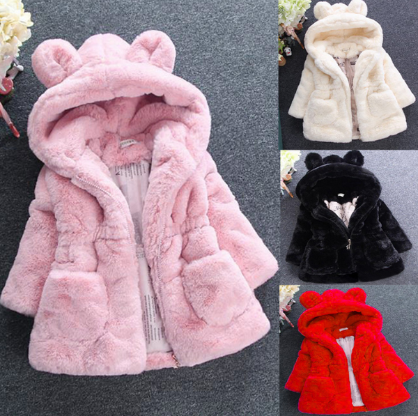 Plush thickened children's clothing jacket cute baby child clothes jacket autumn and winter cotton thickened hooded warm coat