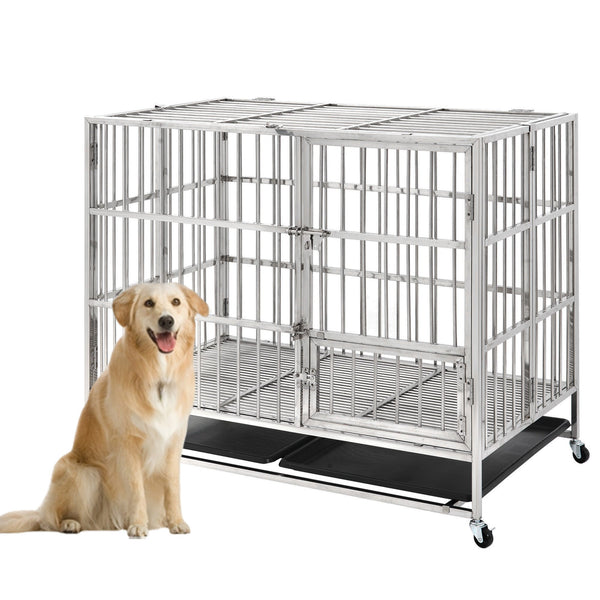 "Extra Large Dog Crate Heavy Duty Dog Crate Stainless Steel Dog Kennel , 49.2""L X 29.5""W X 42.1""H XL XXL Strong Metal Cage for Training Dog & Pet"