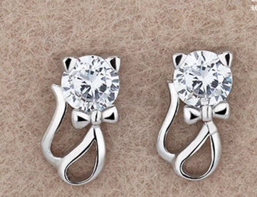 Crystal Cat Stud Earrings