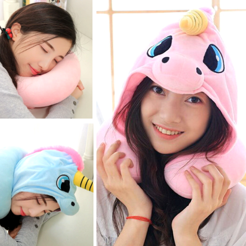 Hooded Unicorn Neck Pillow