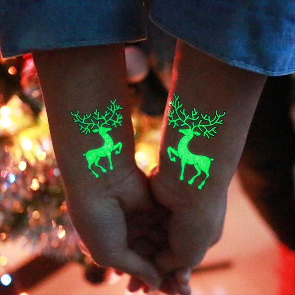 Christmas Luminous Waterproof Cartoon Tattoo Stickers for Party