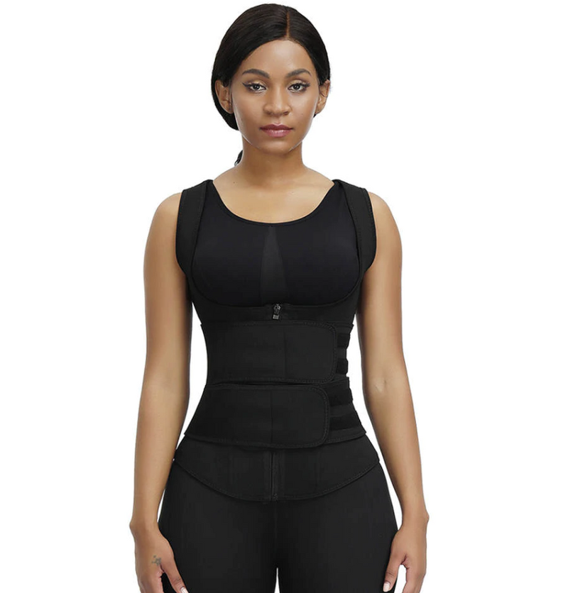Latex Waist Trainer Vest - Double Compression Straps with Supportive Zipper!