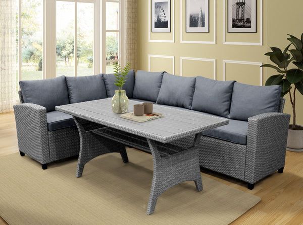Patio Dining Table Set Outdoor Furniture PE Rattan Wicker Conversation Set All-Weather Sectional Sofa Set with Table & Soft Cushions (Grey)