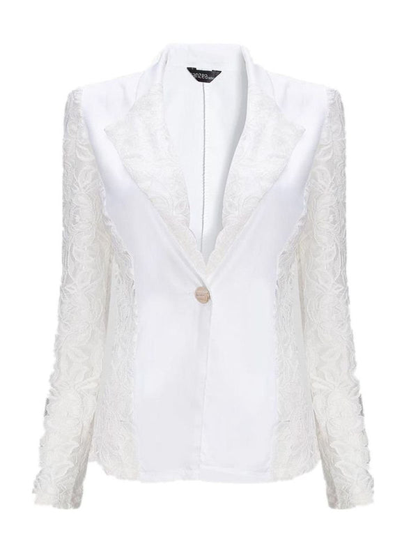 Spliced Floral Stylish Lapel One-Button Women Jackets