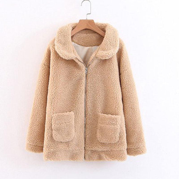 Faux Fur Lapel Pocket Women Coat