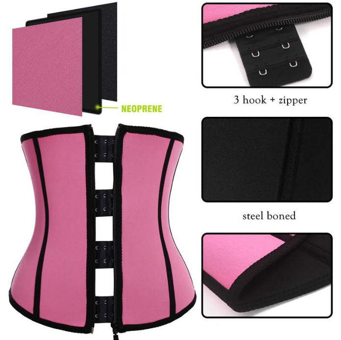 Clip & Zip Waist Trainer - 3 Hook Latex Hourglass Body Shaper