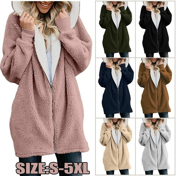 Women's Solid Color Long-sleeve Hooded Knit Cardigan Jacket Winter Warm Zipper Coat Ladies Hoodies Plus Size