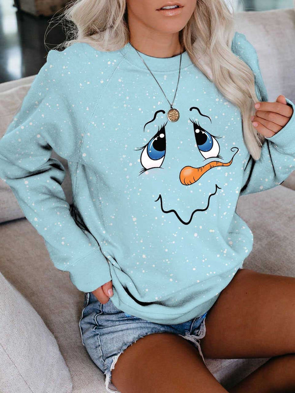 Christmas Women's Cute Snowman Face Print Long Sleeve Sweatshirt
