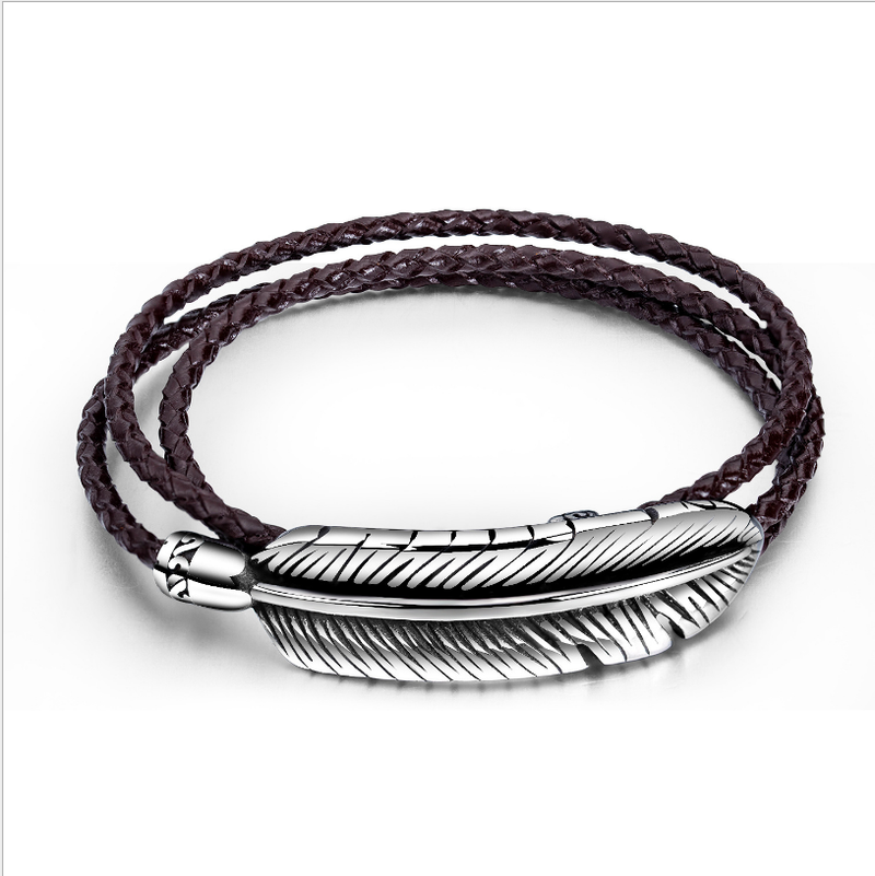 Leather Feather Shape Stainless Steel Bracelet