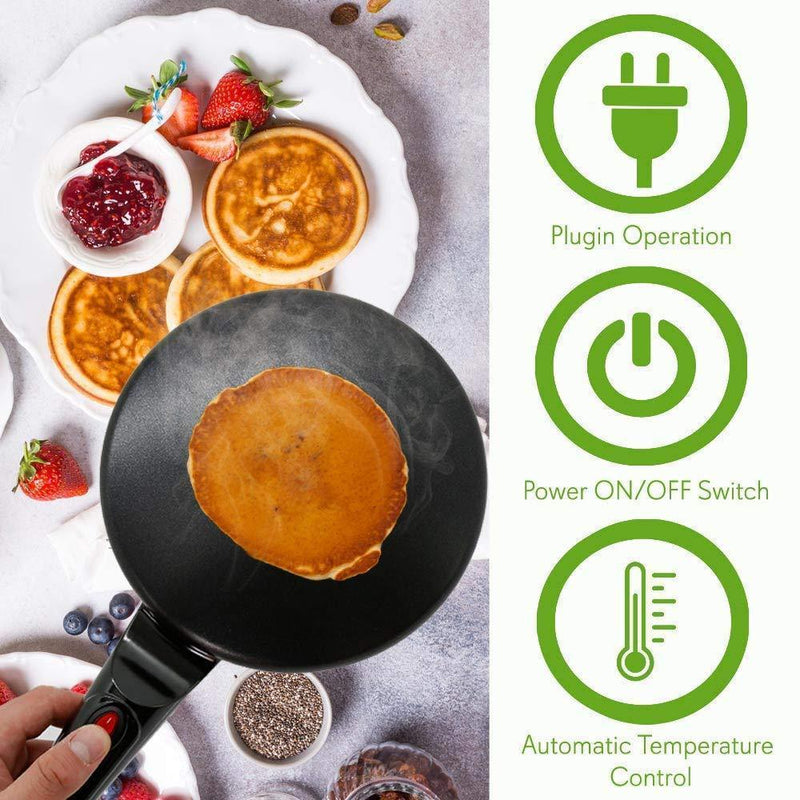 Electric Crepe Maker Griddle with Free Bowl and Egg Beater