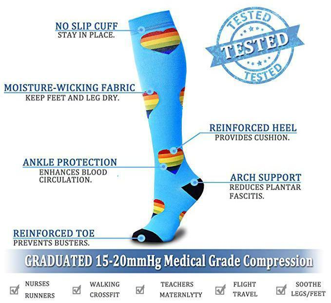 Compression Socks (6 Pairs) for Women & Men-Workout And Recovery/Pack#9