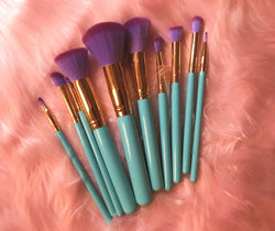Mermaid Makeup Brushes with Clamshell